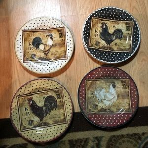 SAKURA Accents - SAKURA Retro Rooster collector plates set of 4